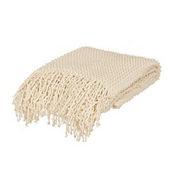 Elmira Ivory Knit Throw Blanket