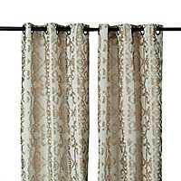 Gold Ikat Damask Curtain Panel Set, 96 in.