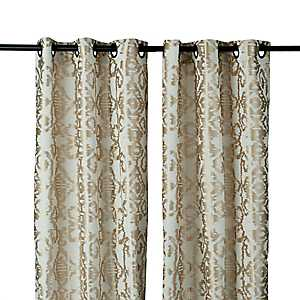 Gold Ikat Damask Curtain Panel Set, 96 in.