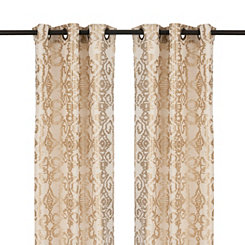 Gold Ikat Damask Curtain Panel Set, 108 in.