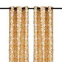 Yellow Ikat Damask Curtain Panel Set, 96 in.