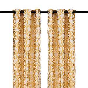 Yellow Ikat Damask Curtain Panel Set, 96 in.