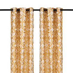 Yellow Ikat Damask Curtain Panel Set, 108 in.