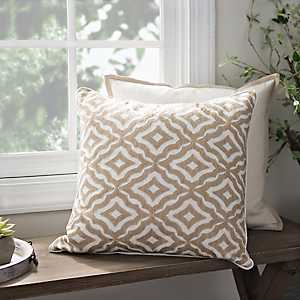 Gold Embroidered Trellis Pillow