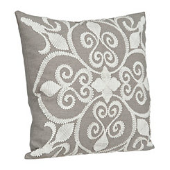 Gray Embroidered Scroll Pillow
