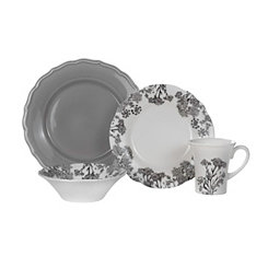 Savanna Floral Gray 16-pc. Dinnerware Set