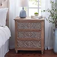Isabella Embossed Wood 3-Drawer Chest