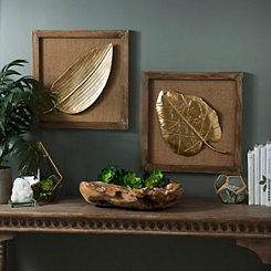Gold Palm Leaves Wall Plaques, Set of 2