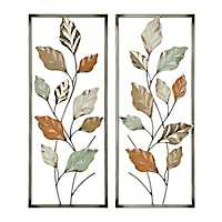 Pastel Vines Metal Plaques, Set of 2