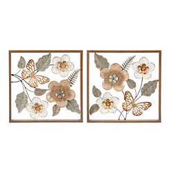 Blush Floral Garden Wall Plaques, Set of 2
