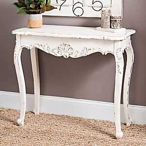 Distressed Cream Console Table