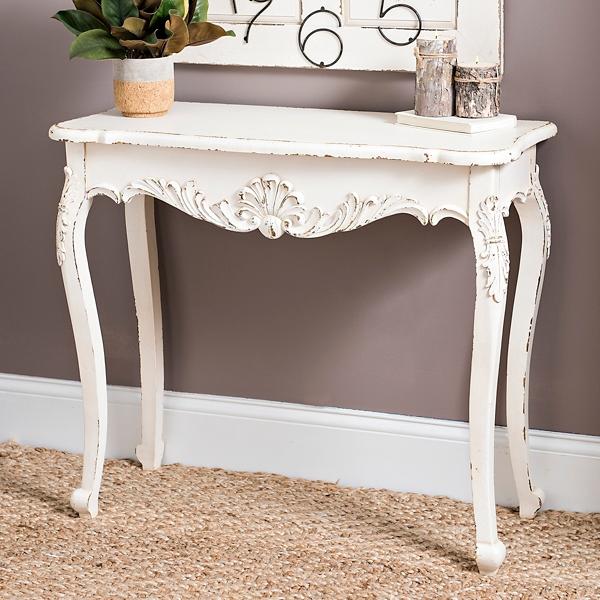 distressed cream console table