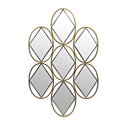 Geometric Gold and Silver Diamonds Mirror