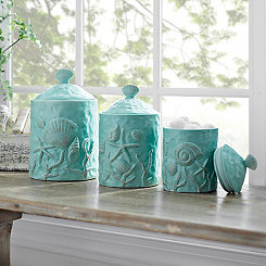 Turquoise Seashell Kitchen Canisters, Set of 3