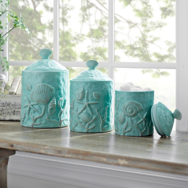 Superieur Turquoise Seashell Kitchen Canisters, Set Of 3