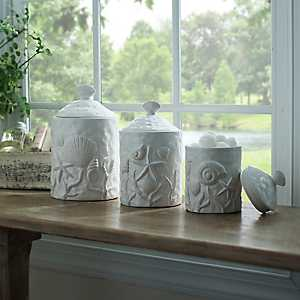 White Seashell Kitchen Canisters, Set of 3