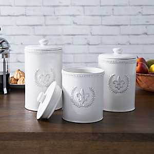 White Fleur-de-Lis Kitchen Canisters, Set of 3