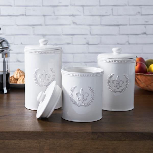 White Fleur De Lis Kitchen Canisters, Set Of 3
