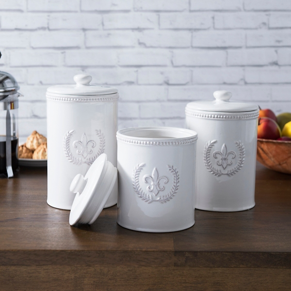 White Fleur De Lis Kitchen Canisters, Set Of 3