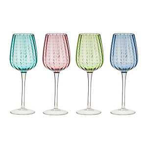 Multicolor Dot Wine Glasses, Set of 4
