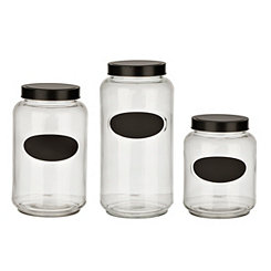 Glass and Chalkboard Kitchen Canisters, Set of 3