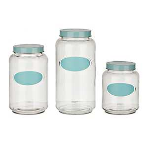 Blue Chalkboard Kitchen Canisters, Set of 3