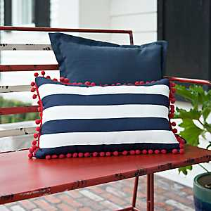 Navy Striped Pom Pom Outdoor Accent Pillow