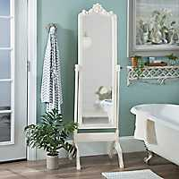 Ornate Distressed Cream Cheval Mirror
