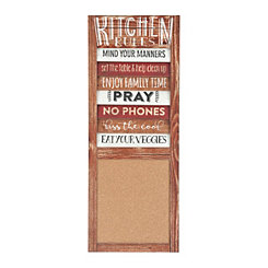 Kitchen Rules Corkboard Wall Plaque
