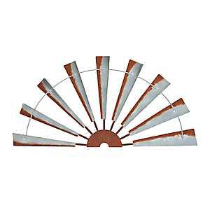 Galvanized Half Windmill Wall Plaque
