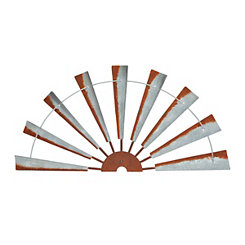 Galvanized Half Windmill Wall Plaque