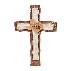 God Bless Texas Cross Plaque