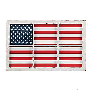 Window Pane American Flag Wall Plaque