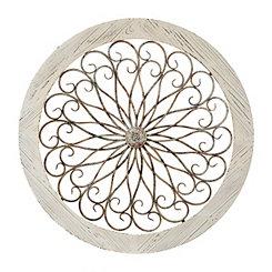 Rhea Ornate Scrolls Wood and Metal Wall Plaque