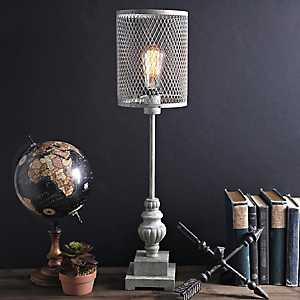 Gray Metal Cage Edison Table Lamp