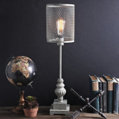 Gray Metal Cage Edison Table Lamp