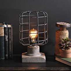 Textured Gray Caged Edison Table Lamp