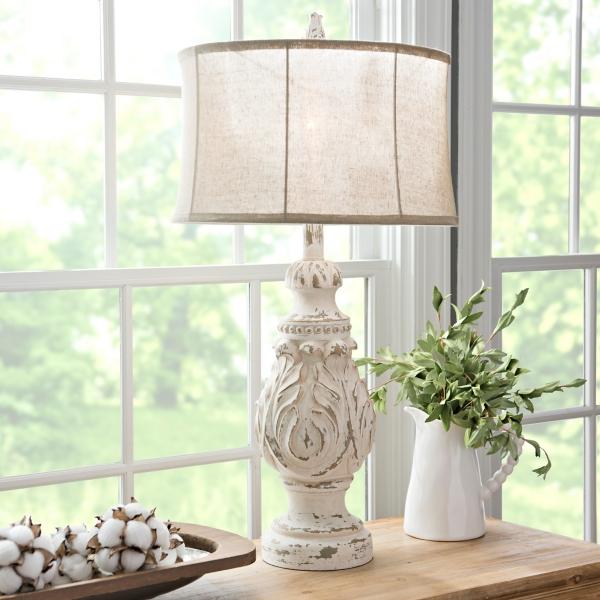 caroline distressed cream table lamp - Table Lamps