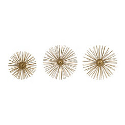 Metallic Gold Metal Spike Plaques, Set of 3