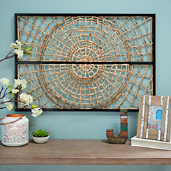 Woven Water Hyacinth Metal Framed Wall Plaque