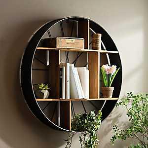 Wood and Iron Bicycle Wheel Shelf