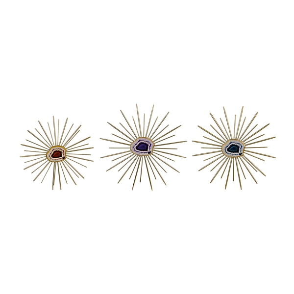 Metallic Agate Spikes Wall Plaque, Set Of 3