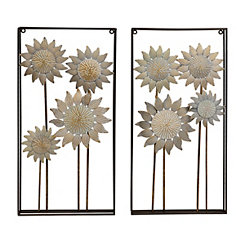 Washed Sunflower Fields Wall Plaque, Set of 2