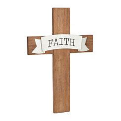 Faith Galvanized Pop-Up on Wood Board Plaque