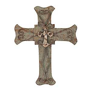 Ornate Wood and Metal Cross Plaque