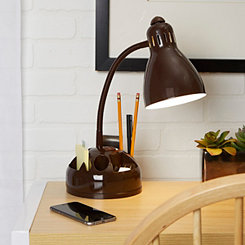 Brown Gooseneck Organizer Desk Lamp