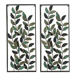Blue Leaves Metal Wall Plaques, Set of 2