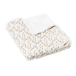 White and Gold Dot Throw Blanket