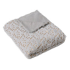 Light Gray and Gold Dot Throw Blanket