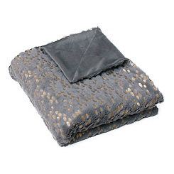 Dark Gray and Gold Dot Throw Blanket